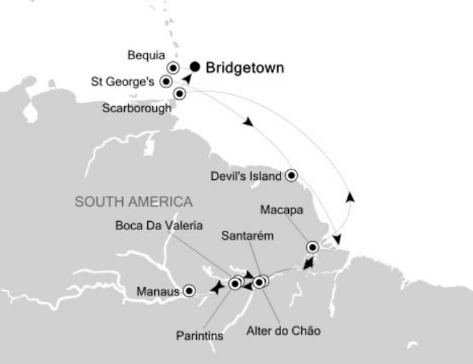 silversea-bridgetown-south-america-map